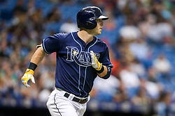 July 8, 2017 - St. Petersburg, Florida, U.S. - WILL VRAGOVIC   |   Times.Tampa Bay Rays designated hitter Corey Dickerson (10) watches his pop up to short in the third inning of the game between the Boston Red Sox and the Tampa Bay Rays at Tropicana Field in St. Petersburg, Fla. on Saturday, July 8, 2017. (Credit Image: © Will Vragovic/Tampa Bay Times via ZUMA Wire)