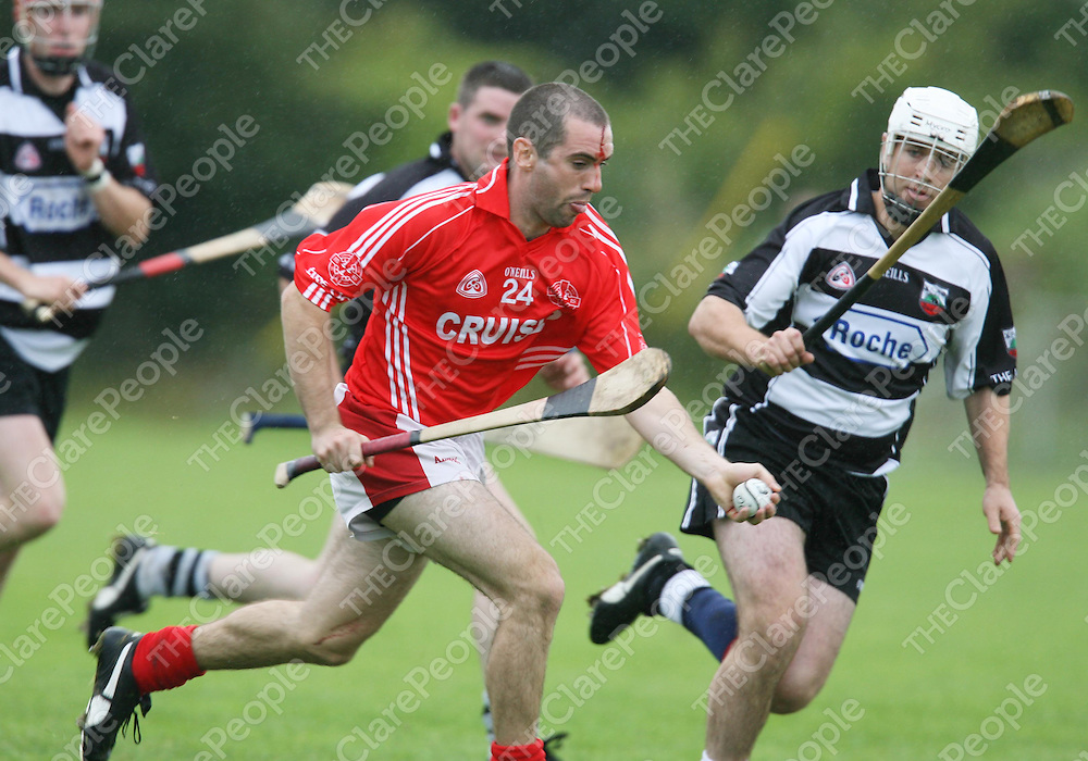 Mark O'Donnell in action during the Eire Og V Clarecastle match at Gurteen on Saturday.<br /> <br /> Photograph by Eamon Ward