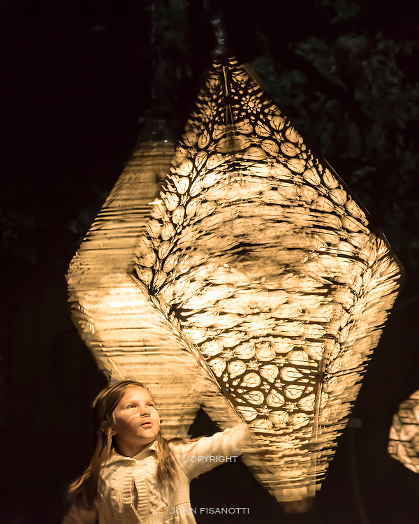 """""""Celestial Shadows"""" artwork by HYBYCOZO, installation at Enchanted Forest Exhibition, Descanso Gardens"""