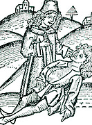 Physician applying a Bezoar stone to a victim of poisoning. The stone was extracted from the gall-bladder or stomach of an animal such as a goat or an antelope.  Bezoar is a corruption of a Persian word meaning counter-poison. From Johannis de Cuba 'Ortus sanitatis', Strasbourt, 1483.