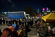Police tow away / remove a lorry which was part of the climate protest on Waterloo Bridge, blocking the traffic in peaceful demonstration asking for the Government to act on climate change. Several roads were blocked across four sites in central London, by the Extinction Rebellion climate change protests, April 2019.