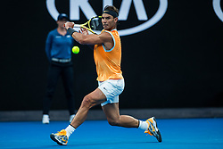 January 27, 2019 - Melbourne, VIC, U.S. - MELBOURNE, VIC - JANUARY 27: RAFAEL NADAL (ESP) during day fourteen match of the 2019 Australian Open on January 27, 2019 at Melbourne Park Tennis Centre Melbourne, Australia (Photo by Chaz Niell/Icon Sportswire (Credit Image: © Chaz Niell/Icon SMI via ZUMA Press)