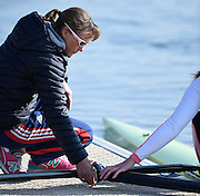 Caversham  Great Britain.<br /> Coach, Jane HALL, checking and holding the gate.<br /> 2016 GBR Rowing Team Olympic Trials GBR Rowing Training Centre, Nr Reading  England.<br /> <br /> Tuesday  22/03/2016 <br /> <br /> [Mandatory Credit; Peter Spurrier/Intersport-images]