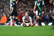 Mark Noble of West Ham United © looks dejected as he is not awarded a penalty after being held down by Ryan Shawcross, the Stoke City captain in the penalty area. Barclays Premier league match, West Ham Utd v Stoke city at the Boleyn Ground, Upton Park  in London on Saturday 12th December 2015.<br /> pic by John Patrick Fletcher, Andrew Orchard sports photography.