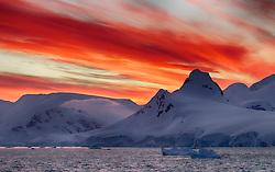Wilhelmina Bay sunset, Antarctica