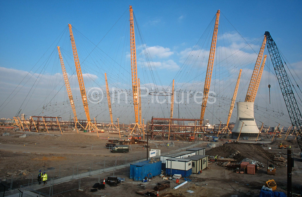 A 1998 construction landscape of The Millennium Dome later to become the 02 Arena on cleared land on Greenwich Peninsular, on 25th March 1998, in London, England.