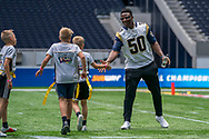 Samson Ebukam (LB, LA Rams) congratulates his team after scoring a touchdown during the NFL UK Media Day at Tottenham Hotspur Stadium, London, United Kingdom on 3 July 2019.