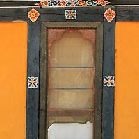 Asia, Bhutan, Thimpu. Window detail of typical Bhutanese architecture.
