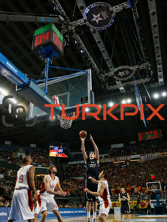 Anadolu Efes's Stanko Barac (2ndR) during their Turkish Airlines Euroleague Basketball Top 16 Game 1 match Anadolu Efes between Galatasaray at Sinan Erdem Arena in Istanbul, Turkey, Thursday, January 19, 2012. Photo by TURKPIX