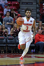 10 December 2016:  Keyshawn Evans(3) during an NCAA  mens basketball game between the UT Martin Skyhawks and the Illinois State Redbirds in a non-conference game at Redbird Arena, Normal IL