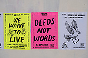 Extinction Rebellion posters on a wall on 24th August 2020 in Birmingham, United Kingdom. Extinction Rebellion is a climate group started in 2018 and has gained a huge following of people committed to peaceful protests. These protests are highlighting that the government is not doing enough to avoid catastrophic climate change and to demand the government take radical action to save the planet.