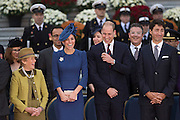 The Duke and Duchess of Cambridge are all smiles at the Parliament Buildings in Victoria.