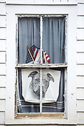 Patriotic stars and stripes flag and dog portrait in window at Cape Cod, New England, USA
