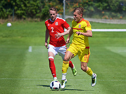 VALE DO LOBO, PORTUGAL - Sunday, May 29, 2016: Wales' Chris Gunter and George Williams during a Wales v Wales training match on day six of the pre-UEFA Euro 2016 training camp at the Vale Do Lobo resort in Portugal. (Pic by David Rawcliffe/Propaganda)