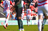 Danny Andrew of Doncaster Rovers (3) scores a goal and celebrates to make the score 2-0 during the EFL Sky Bet League 1 match between Doncaster Rovers and Plymouth Argyle at the Keepmoat Stadium, Doncaster, England on 13 April 2019.