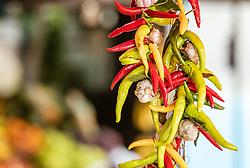 THEMENBILD - Knoblauch und Pfefferoni bei einem Markt, aufgenommen am 28. Juni 2018 in Fazana, Kroatien // Garlic and pepperoni at a Market, Fazana, Croatia on 2018/06/28. EXPA Pictures © 2018, PhotoCredit: EXPA/ JFK