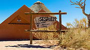 Entrance to the Sesriem sign, Namib Naukluft Park, Namibia, Africa