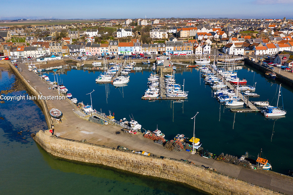 Aerial view from drone of harbour at Anstruther fishing village in East Neuk of Fife, Scotland, UK