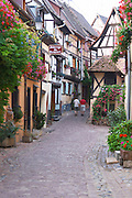 a narrow street eguisheim alsace france