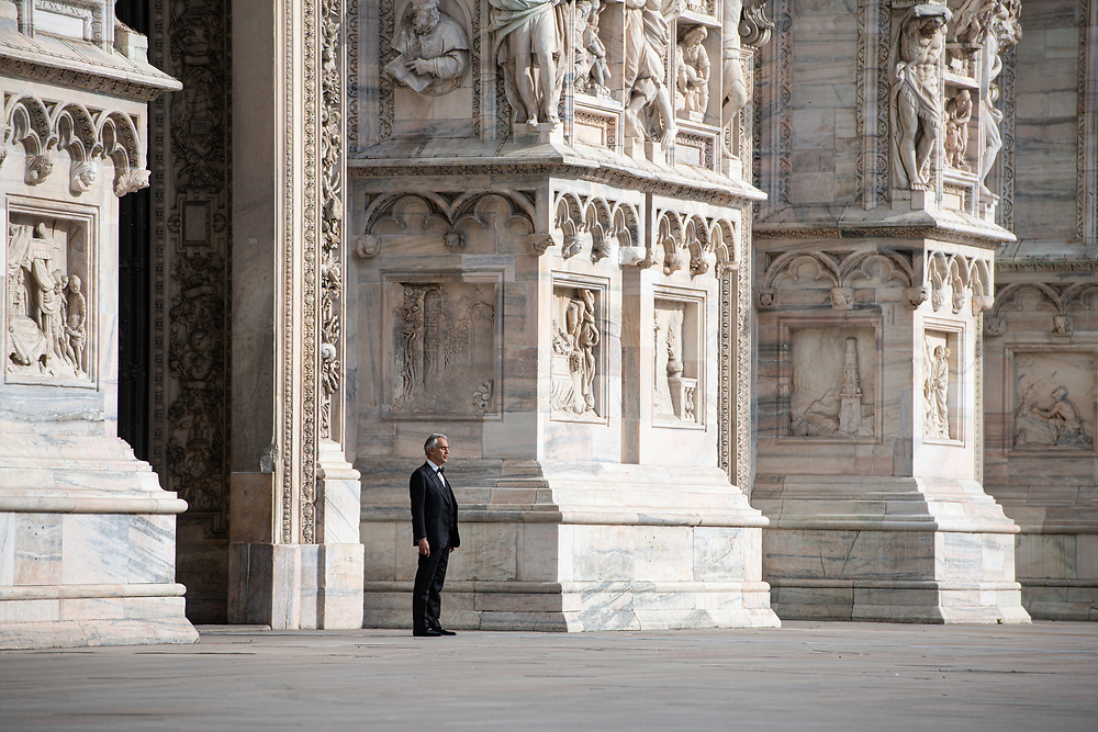 Andrea Bocelli rehearsal in a deserted Piazza Duomo in Milan, Italy on April 12, 2020