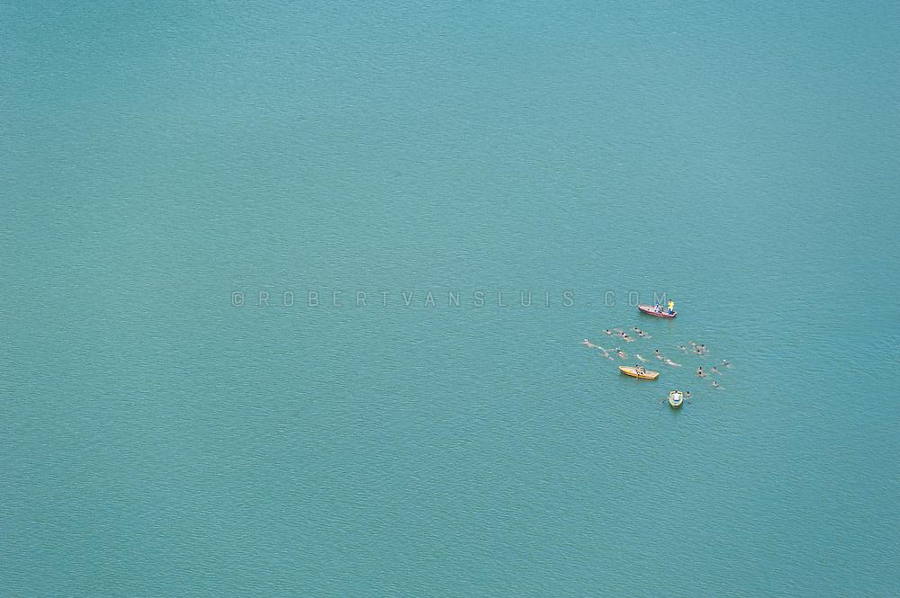 Swimming the Taedong River in Pyongyang, DPRK (North Korea)