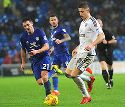 Tom Cairney of Fulham under pressure from Craig Bryson of Cardiff City- Mandatory by-line: Nizaam Jones/JMP- 26/12/2017 -  FOOTBALL - Cardiff City Stadium - Cardiff, Wales -  Cardiff City v Fulham - Sky Bet Championship