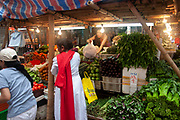 Shop selling fruit and vegetables in Wan Chai's thronging food market on Bowrington Road in Hong Kong, China. Almost any food can be bought here, both fresh or cooked. Wan Chai is a busy Chinese shopping district totally different to nearby westernised Central.