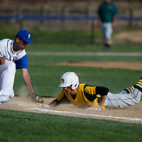(Photograph by Bill Gerth/SVCN/ 4/21/17)  Prospect #24 Kam Dulay goes for the put out vs Live Oak in a BVAL Baseball Game at Prospect High School, Saratoga CA on 4/21/17 (Live Oak 4 Prospect 0)
