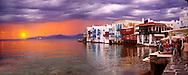 Sunset over The Little Venice (Venetia) neibourhood of the Kastro District of Chora, Mykonos, Cyclades Islands, Greece