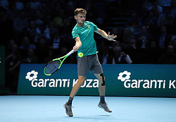 Belgium's David Goffin during his match against Spain's Rafael Nadal during day two of the NITTO ATP World Tour Finals at the O2 Arena, London.