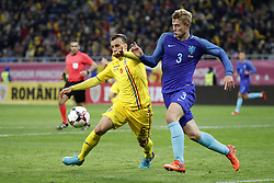 (L-R) Vlad Chiriches of Romania, Matthijs de Ligt of Holland during the friendly match between Romania and The Netherlands on November 14, 2017 at Arena National in Bucharest, Romania