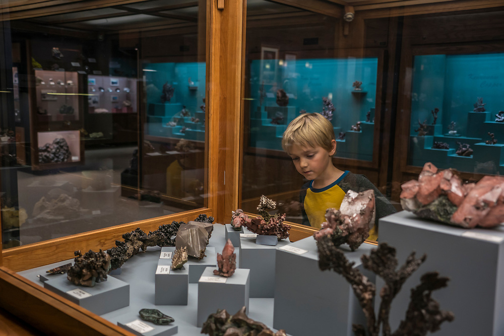Exploring minerals on display at the A.E. Seaman Mineral Museum on the campus of Michigan Technological University in Houghton Michigan.