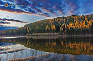 Autumn reflections in Spencer Lake near Whitefish, Montana, USA