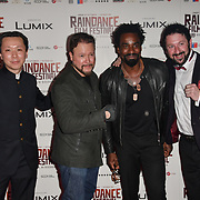Chee Keong, Carlos Gallardo, Oris Erhuero and Mark Strange attends the Raindance Opening Gala 2018 held at Vue West End, Leicester Square on September 26, 2018 in London, England.