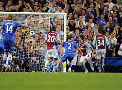 "Chelsea's Branislav Ivanovic scores  - Photo mandatory by-line: Joe Meredith/JMP - Tel: Mobile: 07966 386802 21/08/2013 - SPORT - FOOTBALL - Stamford Bridge - London - Chelsea V Aston Villa - Barclays Premier League - EDITORIAL USE ONLY. No use with unauthorised audio, video, data, fixture lists, club/league logos or ""live"" services. Online in-match use limited to 45 images, no video emulation. No use in betting, games or single club/league/player publications"