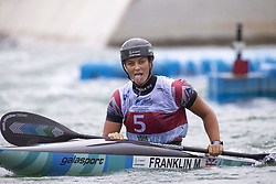 RIO DE JANEIRO, Sept. 29, 2018  Mallory Franklin of Great Britain reacts after the women's Kayak (K1) final at the 2018 ICF Canoe Slalom world championships in Rio de Janeiro, Brazil, Sept. 29, 2018. Mallory Franklin won the silver with 104.34 seconds. (Credit Image: © Li Ming/Xinhua via ZUMA Wire)