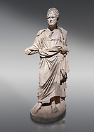 Roman statue of Emperor Priest. Marble. Perge. 2nd century AD. Inv no . Antalya Archaeology Museum; Turkey. .<br /> <br /> If you prefer to buy from our ALAMY STOCK LIBRARY page at https://www.alamy.com/portfolio/paul-williams-funkystock/greco-roman-sculptures.html . Type -    Antalya     - into LOWER SEARCH WITHIN GALLERY box - Refine search by adding a subject, place, background colour, museum etc.<br /> <br /> Visit our ROMAN WORLD PHOTO COLLECTIONS for more photos to download or buy as wall art prints https://funkystock.photoshelter.com/gallery-collection/The-Romans-Art-Artefacts-Antiquities-Historic-Sites-Pictures-Images/C0000r2uLJJo9_s0