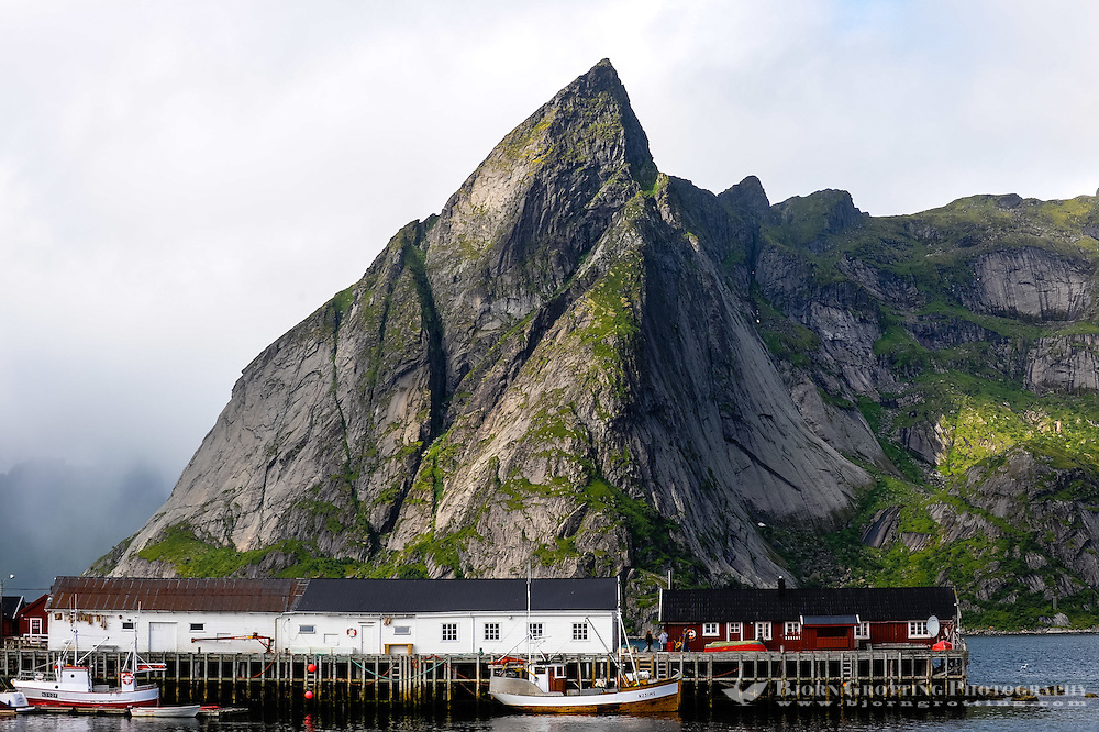 Norway, Lofoten. Hamnøy is a small fishing village in Moskenes, connected to Reine by bridges.