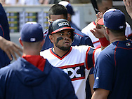 CHICAGO - APRIL 24:  Melky Cabrera #53 of the Chicago White Sox celebrates with teammates in the dugout during the game against the Texas Rangers on April 24, 2016 at U.S. Cellular Field in Chicago, Illinois.  The White Sox defeated the Rangers 4-1.  (Photo by Ron Vesely)   Subject: Melky Cabrera