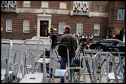 The Press get ready for the birth of the Duchess of Cambridge's Baby outside the<br /> Lindo Wing of St Mary's Hospital, London, United Kingdom<br /> Tuesday, 2nd July 2013<br /> Picture by Andrew Parsons / i-Images