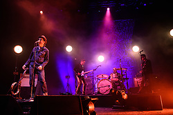 Eels (lead singer Mark Oliver Everett, left) performing at Brixton Academy in south London. PRESS ASSOCIATION Photo. Picture date: Monday July 2nd, 2018