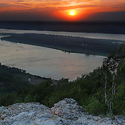 "Sunset over Volga river in Russian National Park ""Samara Luka"""