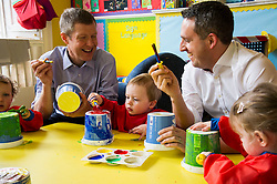 Pictured: Willie Rennie, Henry Thomas (two) and Alex Cole-Hamilton, Scottish Liberal Democrat candidate for Edinburgh Western  <br /> <br /> Scottish Liberal Democrat leader Willie Rennie marked the first full day of campaigning for the Scottish Election by visiting  the New Town Nursery in Edinburgh. He was joined by Edinburgh Western candidate Alex Cole-Hamilton as the children were enjoying a lively morning<br /> <br /> Ger Harley | EEm 23 March 2016