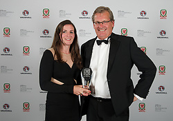 CARDIFF, WALES - Monday, October 5, 2015: S.A. Brain's John Rees presents Wales' Helen Ward with the Woman's Players' Player of the Year during the FAW Awards Dinner at Cardiff City Hall. (Pic by Ian Cook/Propaganda)