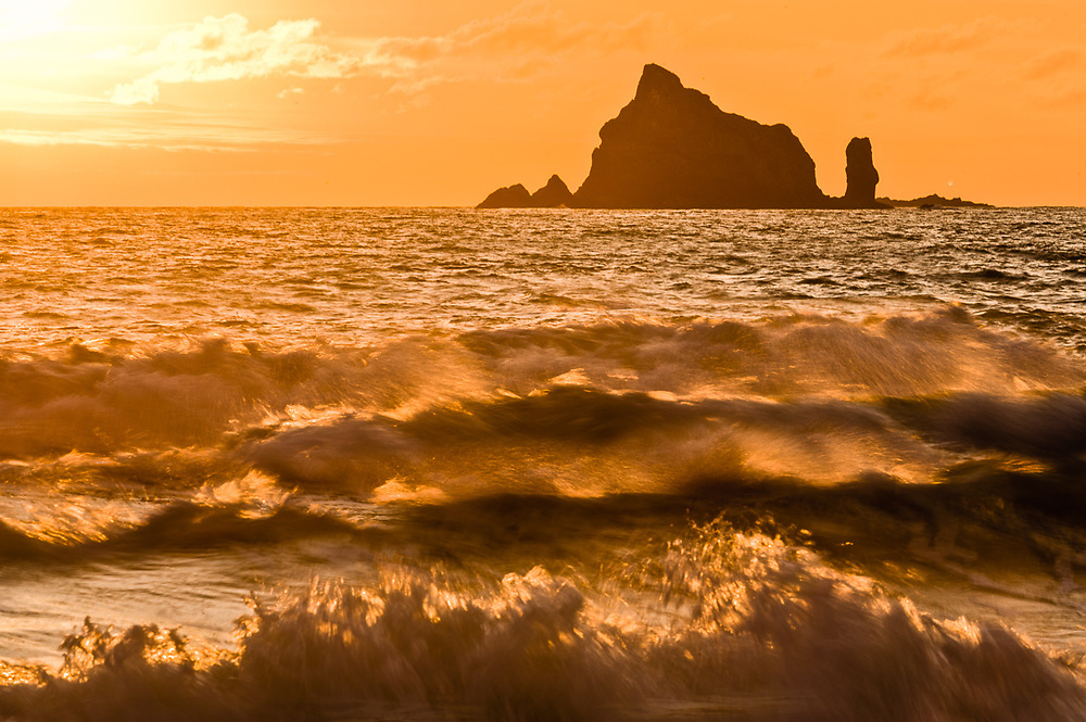 Seastack at sunset, June, Second Beach, Pacific Ocean, Olympic National Park, Washington, USA