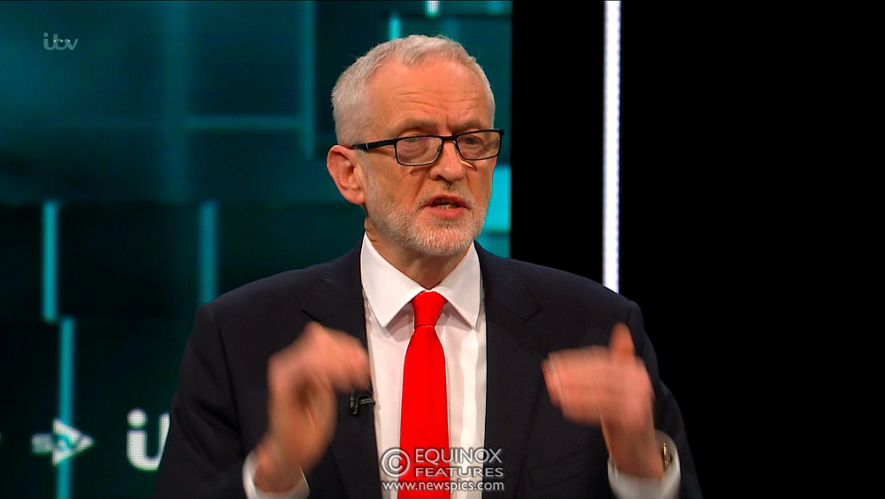 Broadcast TV, United Kingdom - 19 November 2019<br /> Labour leader Jeremy Corbyn and Prime Minister Boris Johnson debate live on ITV tonight as part of the 2019 general election campaign.<br /> (supplied by: Supplied by: EQUINOXFEATURES.COM)<br /> Picture Data:<br /> Contact: Equinox Features<br /> Date Taken: 20191119<br /> Time Taken: 212721<br /> www.newspics.com