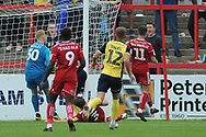 Accrington Stanley Goalkeeper, Connor Ripley (30) and Accrington Stanley Defender, Mark Hughes (3) clear the danger during the EFL Sky Bet League 1 match between Accrington Stanley and Scunthorpe United at the Fraser Eagle Stadium, Accrington, England on 1 September 2018.