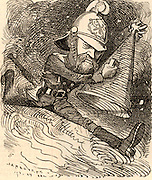 Eyre Massey Shaw (1830-1908) Irish soldier who served in the British army. Widely known as 'Captain Shaw', he was founder and Superintendant of the Metropolitan (now London) Fire Brigade 1861-1891. In Gilbert and Sullivan's light opera 'Iolanthe' the fairy wonders if Captain Shaw's 'brigade with cold cascade' could quench her love.   Cartoon by Edward Linley Sambourne in Punch's Fancy Portraits series from 'Punch' (London, 22 January 1881).