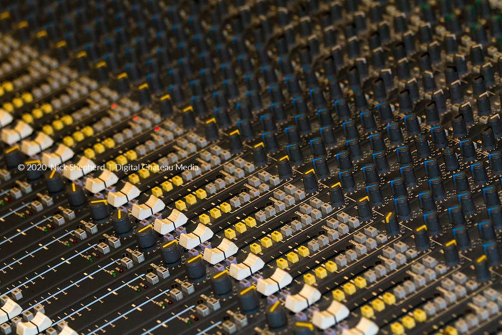 Close up shot of a mixing desk at Ariwa Studios in South London.