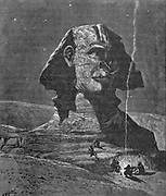 """The SPHINX. Called by the Arabs """" Father of Terrors."""" It faces the east, and is hewn out of the natural rock. Wood engraving from 'Picturesque Palestine, Sinai and Egypt' by Wilson, Charles William, Sir, 1836-1905; Lane-Poole, Stanley, 1854-1931 Volume 4. Published in 1884 by J. S. Virtue and Co, London"""